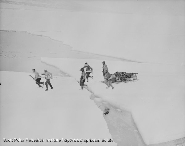 The Western party crossing the ice to the ship