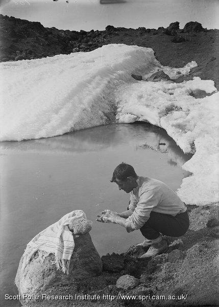 Lieut. Evans washing at the pool. Jan. 7th 1911.