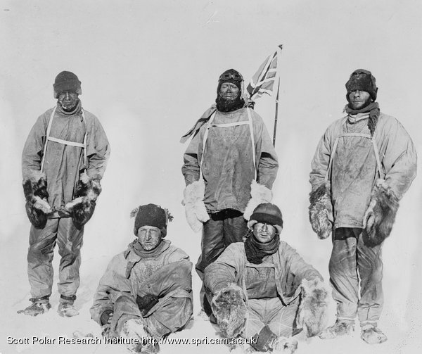 Scott, Oates, Evans, Bowers and Wilson pose for the camera at the South Pole (variation made by Ponting from original photograph taken by Henry Bowers).
