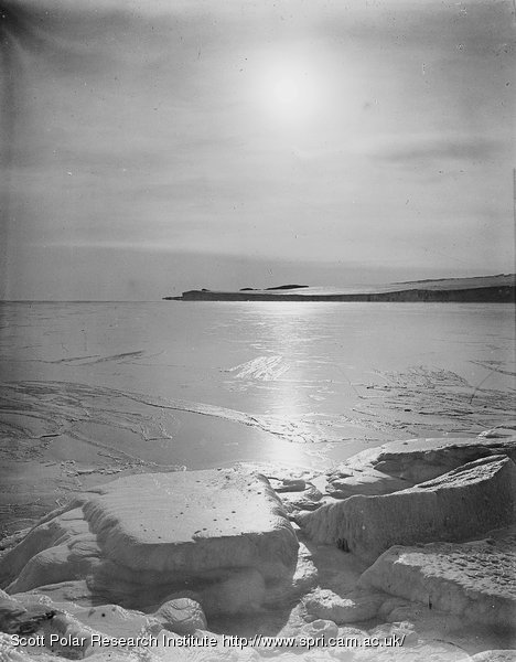 Looking to Cape Barne from Cape Evans. Mirage effect. March 3rd 1911