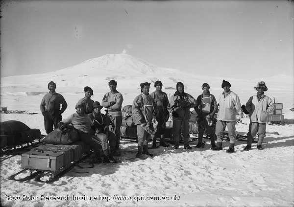 Captain Scott and the Southern Party. Mount Erebus in Background. January 26th 1911