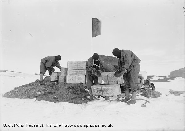 Laying a depot. H. . &. P's biscuits. Feb. 8th 1911.