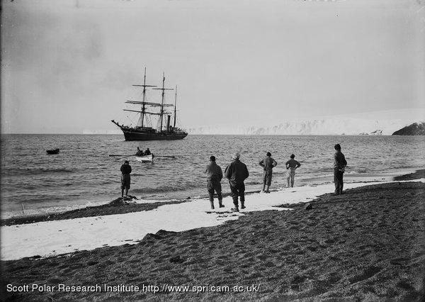 The Terra Nova lying off Barne Glacier. Feb. 8th 1911.