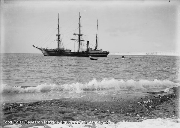 The Terra Nova lying off shore from the hut. Feb. 8th 1911.
