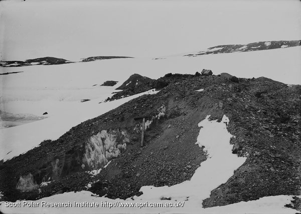 Ice showing in morainic cones on Green Lake. Cape Royds. Feb. 15th 1911.