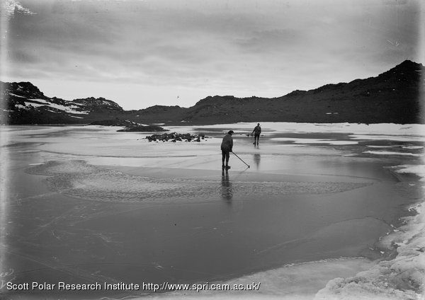 Day and Nelson on Clear Lake. Cape Royds. Jan. 15th 1911.