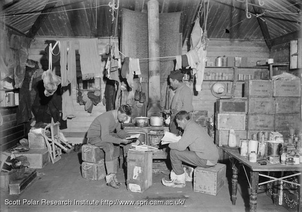 Nelson, Day and Lashly in E.H. Shackleton's hut. Feb. 17th 1911.