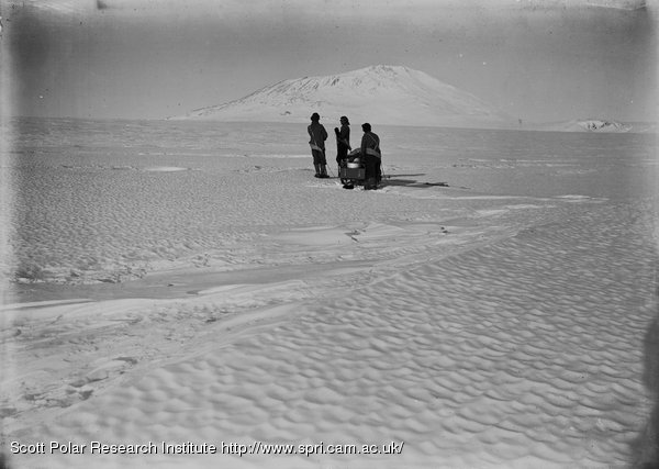 Day, Nelson and Lashly and sledge on Barne Glacier. Feb. 21st 1911.