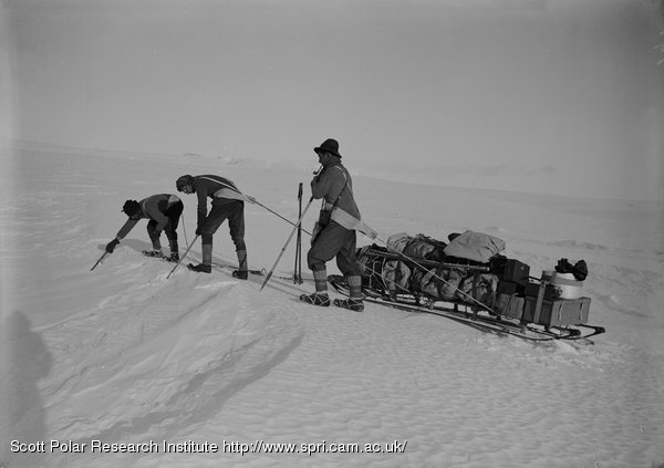 Day, Nelson and Lashly probing a crevasse on Barne Glacier. Feb. 21st 1911.