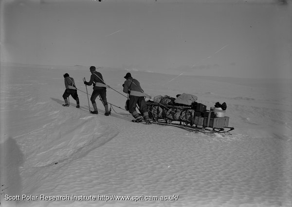 Day, Nelson and Lashly among Crevasses on Barne Glacier. Feb. 21st 1911.