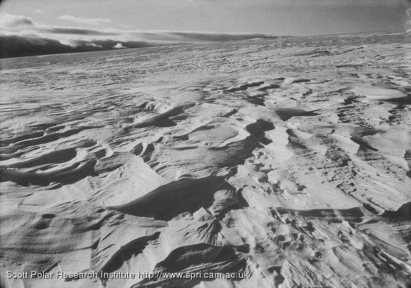 Sastrugi on Barne Glacier. Feb. 21st 1911.
