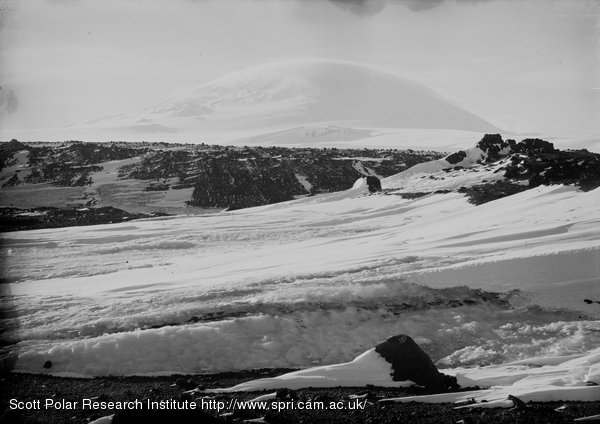 Cloud effect on Erebus at noon. March 7th 1911