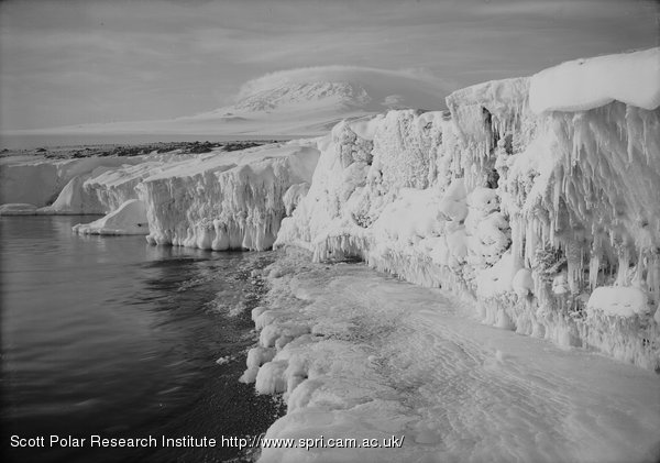 Erebus and dome cloud from West Beach. 2.30 p.m. Icicled glacier foreground. March 7th 1911