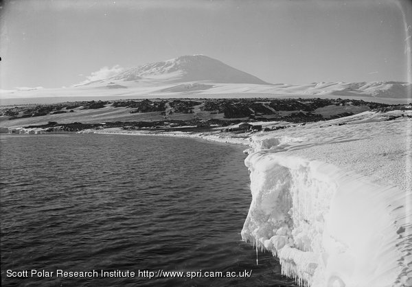 North Beach, Camp and Erebus from the west. March 7th 1911