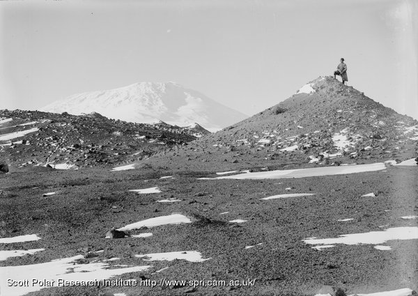 Morainic cones, Erebus in background. Day on top. March 9th 1911