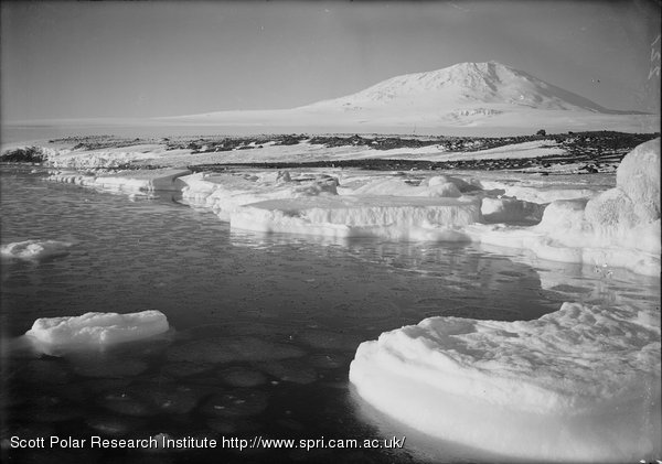 Young pancake ice forming at West Beach. Erebus in background. March 9th 1911