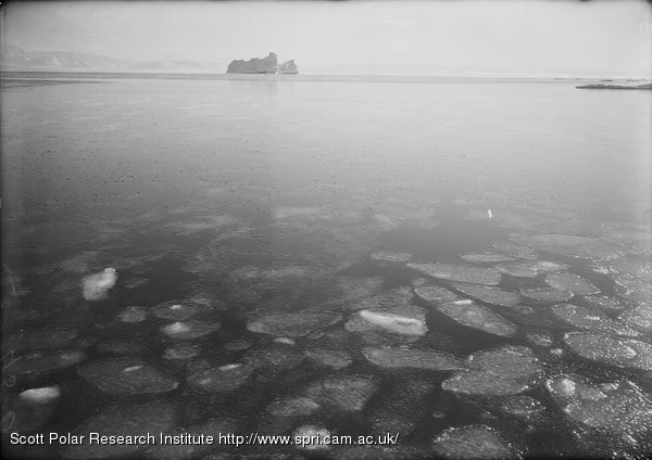Pancake ice forming on sea. March 9th 1911