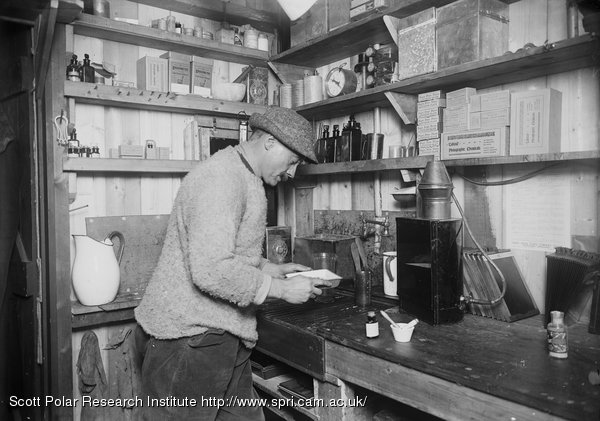 Ponting at work in darkroom. March 24th 1911