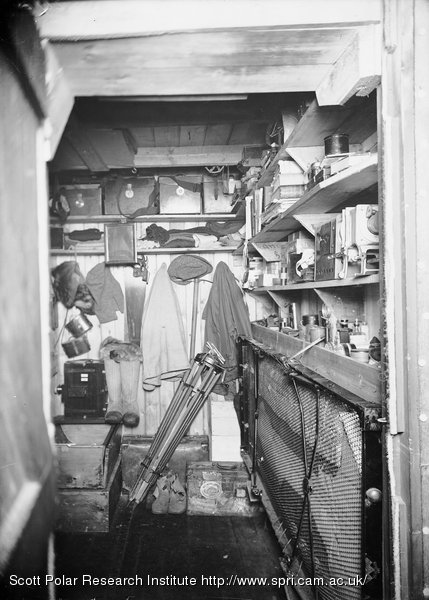 Interior of Mr Pontings Darkroom (showing his Bed) in the Winterquarters Hut.