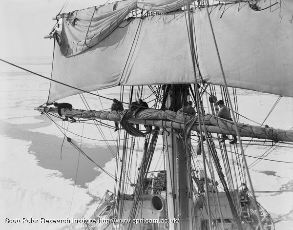 Furling the mainsail of the Terra Nova in the pack