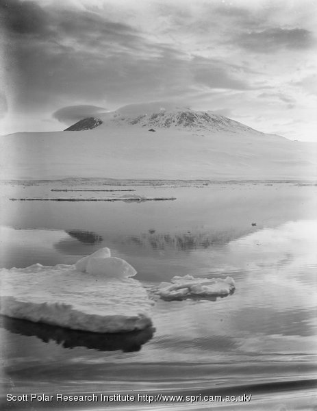 Erebus at midnight from the Terra Nova off Cape Bird. Jan. 3rd 1911